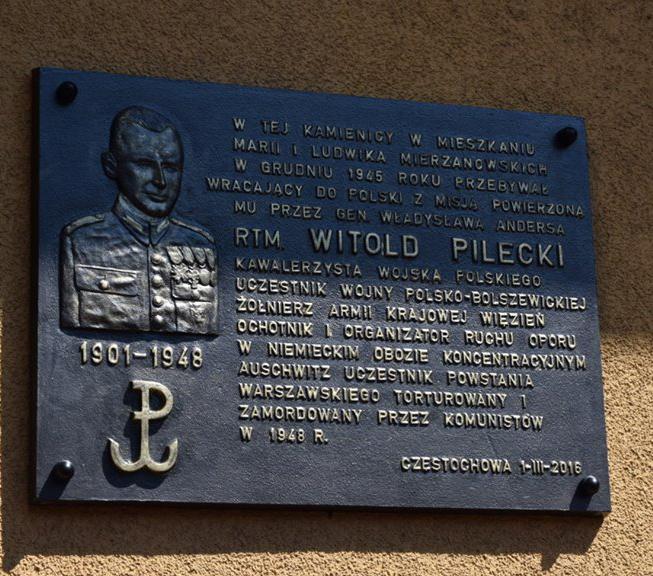 Tablica upamiętniająca rotmistrza Pileckiego